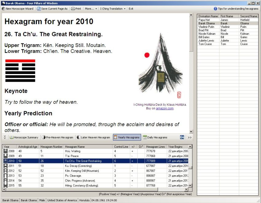 Application interface with displayed Yearly Hexagram for Barak Obama (click to enlarge)